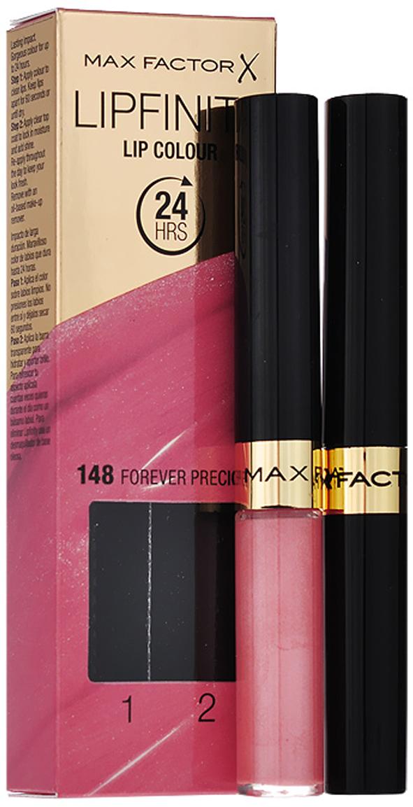 Max Factor Стойкая губная помада и увлажняющий блеск Lipfinity, тон №148 (Forever Precious)81435505Суперустойчивая помада LIPFINITY – это сенсационный двухступенчатый макияж для губ, который разделяет функции стойкого цвета и увлажнения. Lipfinity включает в себя два продукта – элегантный тюбик с цветом и спонжем для удобного нанесения и суперувлажняющий блеск для губ. В течение дня Ваши губы сохраняют цвет, при необходимости достаточно лишь нанести увлажняющий блеск! Lipfinity- это стойкость и великолепные оттенки на любой вкус! Двухступенчатое нанесение: блеск для роскошного цвета для губ и бальзам для сияние увлажнения. Наноси бальзам регулярно в течение дня, чтобы сохранить свежесть цвета губ.1. На сухие чистые губы нанести жидкий красящий пигмент специальной кисточкой. 2. Подождать 1 минуту, нанести увлажняющий блеск, который защитит нежную кожу губ от сухости и шелушения и придаст губам глянец. 3. Стойкая губная помада Lipfinity смывается любым средством для снятия макияжа, содержащим жировые компоненты.Какая губная помада лучше. Статья OZON Гид