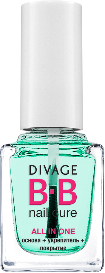 DIVAGE BB NAIL CURE Основа+Укрепитель+Покрытие для ногтей ALL IN ONE, 12 мл концентрат divage bb nail cure nail polish gel remuver 120 мл