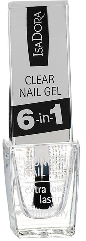 Isa Dora Средство для ногтей Wonder Nail - Clear Nail Gel, 6 в 1, универсальное, 6 мл isa dora верхнее покрытие для гелевого лака для ногтей lacquer top coat тон 210 6 мл