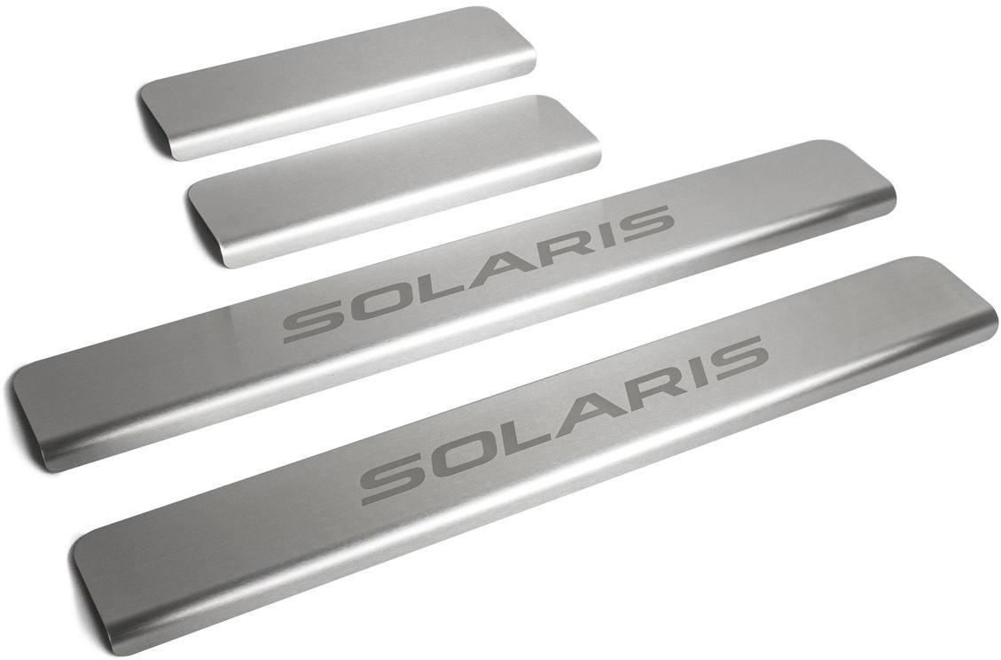 """Накладки порогов """"Rival"""", для Hyundai Solaris 2011-2016, нержавеющая сталь, с надписью, 4 шт. NP.2301.3"""