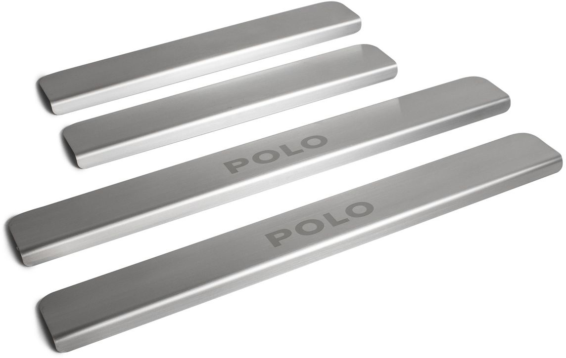 """Накладки порогов """"Rival"""", для Volkswagen Polo 2010-, нержавеющая сталь, с надписью, 4 шт. NP.5803.3"""