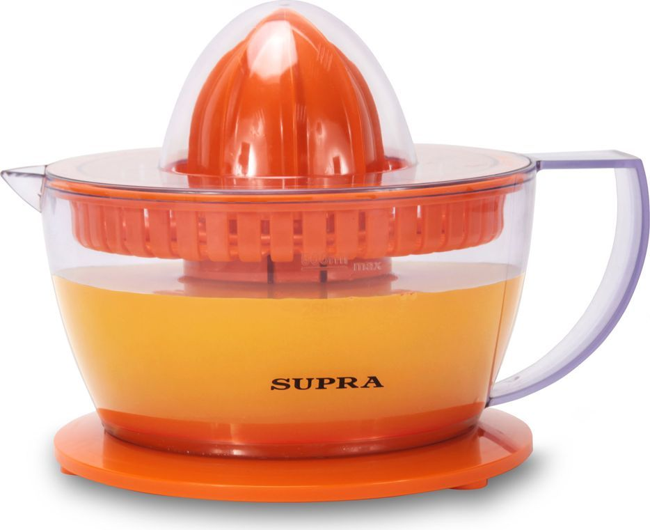 Supra JES-1027, Orange соковыжималка05N8Апельсиновый, лимонный, а может, грейпрфрутовый? Вы можете пить свежевыжатый сок из любого фрукта, при условии, что он будет цитрусовым.Электрическая соковыжималка Supra JES-1027 для цитрусовых работает по простому и понятному принципу: прижал фрукт к выжимателю, он прокрутился и превратил мякоть в сок. Все просто, быстро и надежно.