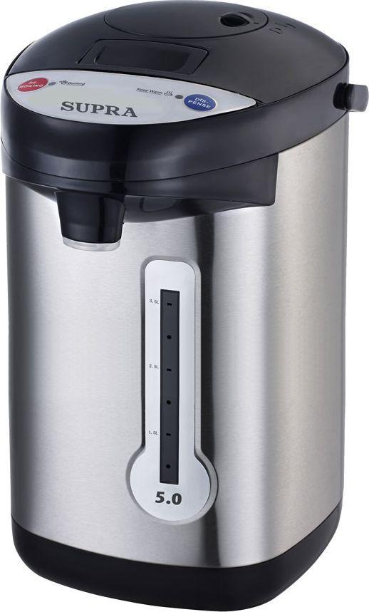 Supra TPS-3013, Black Silver термопот073NТермопот Supra TPS-3013 обеспечит вас чаем и любыми другими горячими напитками на основе почти не иссякающего в его недрах кипятка. Пятилитрового объема внутренней камеры из нержавеющей стали хватит и для обильного семейного чаепития и для офисного кофе-брейка. Путь к вашей чашке кипяток пройдет с помощью электрического или механического насоса (на ваш выбор). Особо эстетской выглядит функция подачи кипятка при касании чашкой. Ваш будущий чай или кофе всегда будет горячим благодаря автоматической функции повторного кипячения, а следить, чтобы кипятка хватило на всех, поможет индикатор уровня воды. Мощность в режиме поддержания температуры: 35 Вт.