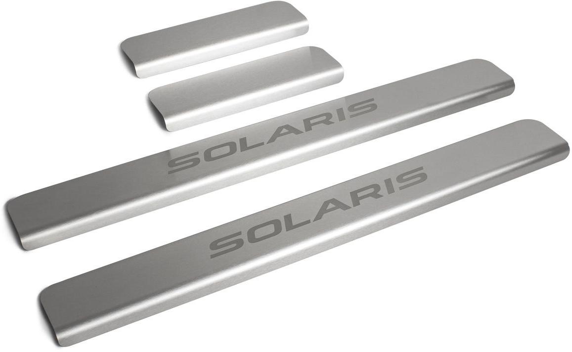 Накладки на пороги  Rival , для Hyundai Solaris 2017-, 4 шт - Тюнинг и защита - Защита внешних частей