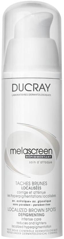 Ducray Корректор Melascreen30 мл8809186773980Для коррекции локальных пигментных пятен на лице и области декольте, вызванных солнечными лучами.Локальный корректор Ducray Melascreen (Меласкрин)оказывает интенсивное депигментирующее действие, разработан специально для эффективного устранения коричневых и темных пятен.Эффективность депигментирующего действия обусловлена его инновационным составом, включающим концентрированную азелаиновую кислоту и гликолевую кислоты:• АЗЕЛАИНОВАЯ КИСЛОТА оказывает мощное депигментирующее действие, а также:- ингибирует фермент, участвующий в синтезе меланина – тирозиназу, - снижает интенсивность окраски пигментного пятна. • ГЛИКОЛИЕВАЯ КИСЛОТА является эталонным AHA (альфа-гидроксикислотой) в дерматологии: - кератолитик, улучшает устранение отмерших клеток из эпидермиса, - усиливает действие азелаиновой кислоты, улучшая ее проникновение в поверхностные слои эпидермиса.После применения исчезают пигментные пятна и осветляются коричневые пятна.