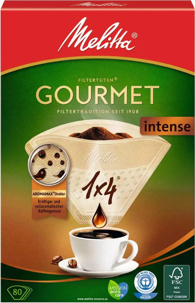 Melitta Gourmet Intense фильтры для заваривания кофе, 1х4/800100999Благодаря улучшенным кофейным фильтрам Melitta Gourmet Intense вы сможете погрузиться в страстный мир наслаждения крепким кофе с его полным многообразием ароматов. Наслаждайтесь страстным миром крепкого кофе с его полным разнообразием ароматов. Плотнопористая структура Aromamax гарантирует продолжительную экстракцию кофе, проявляющую все кофейные ароматы кофе с характером. Уникальные ароматические поры AromaporPLUS усиливают экстракцию кофейных масел, которые являются носителями более 800 кофейных ароматов и обеспечивают соблазняющее наслаждение кофе.Уважаемые клиенты! Обращаем ваше внимание на то, что упаковка может иметь несколько видов дизайна. Поставка осуществляется в зависимости от наличия на складе.
