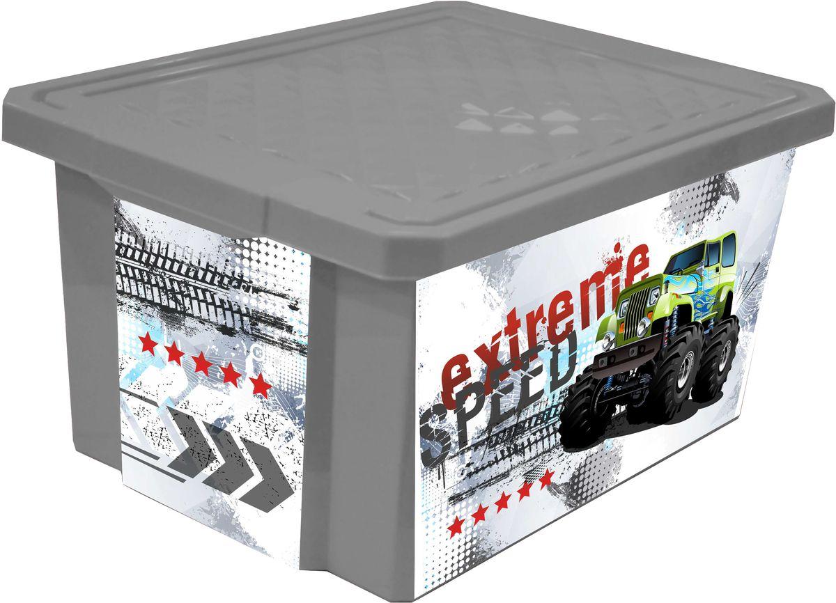 Little Angel Ящик для игрушек X-Box Супер Трак 17 лLA1029Универсальный ящик для хранения, декорированный с помощью технологии In Mould Labeling (IML). Теперь наш ящик - привлекательный элемент интерьера, а не просто функциональное изделие. Декор ящика износоустойчив, его можно мыть без опасения испортить рисунок. Прочный каркас ящика позволит хранить как легкие вещи, так и более тяжелый груз.