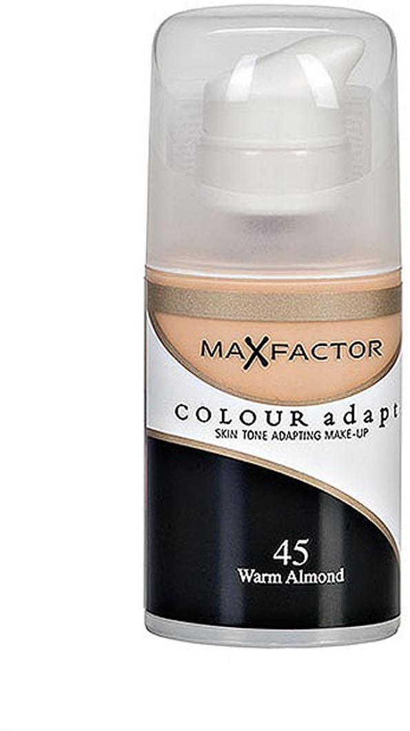 Max Factor Тональный крем Colour Adapt, тон 45 Warm Almond (Светло-розовый), 34 млd215000023Тональная основа, которая поможет справиться с неровным тоном лица. Тональная основа Max Factor Colour Adapt адаптируется ктону кожи и создает естественное покрытие. Так в чемже секрет? «Умные частицы» тональной основы адаптируются ктону кожи, который отличается в разных зонах, обеспечивая невероятно легкое покрытие и не маскируя естественное свечение кожи. Тональная основа Max Factor Colour Adapt обеспечивает идеальный тон, кожа выглядит свежей и сияющей весь день. Инновационная технология для совершенства кожи. Помогает выровнять тон кожи, скрыть несовершенства и мелкие морщинки для создания идеального образа. Тональная основа Max Factor Colour Adapt имеет легкую формулу крем-пудры и подстраивается под любой тон кожи для удивительно естественного образа. Эмульсия на основе силикона и эластомера адаптируется ктону кожи и обеспечивает естественное умеренное покрытие для создания нежного и невесомого макияжа. Основа не содержит масел, подходит для чувствительной кожи, протестирована дерматологами, не закупоривает поры.Кремово-пудровая текстура для безупречного покрытия. Ультралегкая формула не сушит кожу. Содержит несколько цветовых пигментов, которые адаптируются ктону кожи. Не содержит масла, подходит для чувствительной кожи. Не закупоривает поры. Протестировано дерматологами.Сравни тон основы с тоном кожи на щеках и линии челюсти, чтобы подобрать идеальный оттенок. Если тон подобран правильно, то он буквально исчезнет на твоей коже. Чтобы достичь ровного покрытия, нанеси небольшое количество основы на тыльную сторону ладони и распредели по лицу кистью или кончиками пальцев. Нанеси небольшое количество на центральную часть лица и растушуй от центра кпериферии. Нанеси средство на веки и губы в качестве базы под тени и помаду.