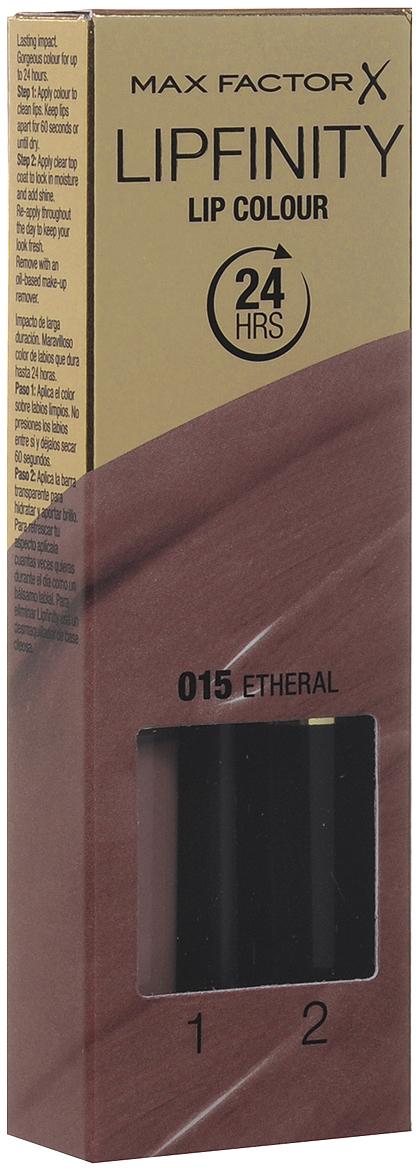 Max Factor Стойкая губная помада и увлажняющий блеск Lipfinity, тон №015 Etheral81435676Суперустойчивая помада LIPFINITY – это сенсационный двухступенчатый макияж для губ, который разделяет функции стойкого цвета и увлажнения. Lipfinity включает в себя два продукта – элегантный тюбик с цветом и спонжем для удобного нанесения и суперувлажняющий блеск для губ. В течение дня Ваши губы сохраняют цвет, при необходимости достаточно лишь нанести увлажняющий блеск! Lipfinity- это стойкость и великолепные оттенки на любой вкус! Двухступенчатое нанесение: блеск для роскошного цвета для губ и бальзам для сияние увлажнения. Наноси бальзам регулярно в течение дня, чтобы сохранить свежесть цвета губ.1. На сухие чистые губы нанести жидкий красящий пигмент специальной кисточкой. 2. Подождать 1 минуту, нанести увлажняющий блеск, который защитит нежную кожу губ от сухости и шелушения и придаст губам глянец. 3. Стойкая губная помада Lipfinity смывается любым средством для снятия макияжа, содержащим жировые компоненты.Какая губная помада лучше. Статья OZON Гид