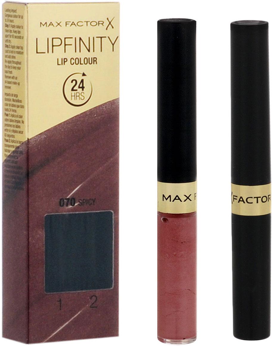 Max Factor Стойкая губная помада и увлажняющий блеск Lipfinity, тон №070 (Spicy), 2х3 мл81435688Жидкая помада Lipfinity обеспечивает насыщенный цвет и оставляет ощущение мягкости на весь день.Новый аппликатор распределяет помаду ровным и тонким слоем.Формула базового покрытия сочетает в себе цвет, который буквально липнет к губам, и силиконовый компонент. Результат: стойкий цвет, который держится до 24 часов и сохраняет губы увлажненными и мягкими.Товар сертифицирован.Какая губная помада лучше. Статья OZON Гид