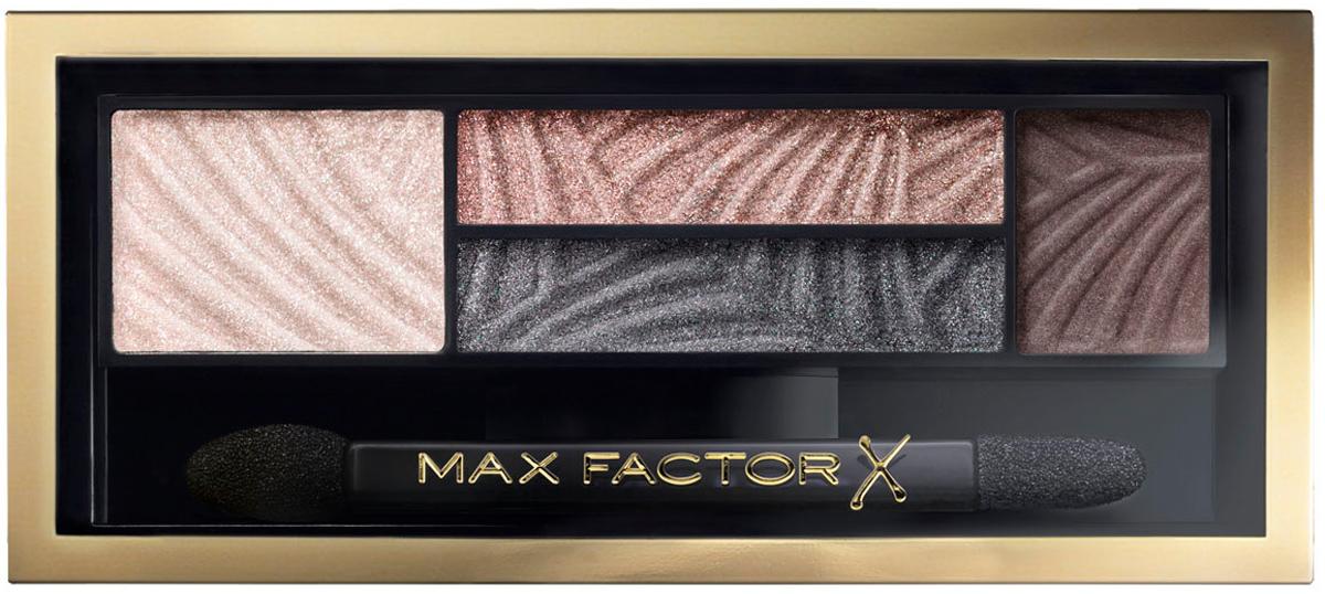 Max Factor 4-хцветные тени для век и бровей Smokey Eye Drama Kit 2 В 1, тон 02 lavish onyx81513851Измени свой образ в 4простых шага с палеткой теней Max Factor Smokey Eye Drama Kit. Насыщенные пигментом оттенки и пудра для бровей идеально сочетаются друг с другом в одной палетке для создания гламурного макияжа глаз. Тени усиливают интенсивность и подчеркивают цвет глаз, - тебе только остается выбрать палетку, наиболее подходящую к цвету твоих глаз. Оттенок Lavish Onyx идеально подойдет глазам любого цвета, в то время как Azure Allure придаст выразительность голубым глазам. Оттенки Sumptuous Golds и Opulent Nudes придадут сияние карим глазам. Оттенок Magnetic Jades сделает выразительными глаза орехового оттенка, а Luxe Lilacs прекрасно оттенит зеленые глаза. Идеальная подборка цветов для сияющего взгляда. Каждая палетка содержит яркие пигменты, обогащенные бальзам-компонентами для идеально гладкого и равномерного нанесения. Эти запечённые тени содержат более высокую концентрацию перламутра по сравнению с классическими тенями – для превосходного блеска.4шага: 1) Начни с промежуточного оттенка, нанеси его в складку века и 2) слегка под нижним веком, чтобы создать базу для идеального дымчатого макияжа. 3) Растушуй на веках самый светлый оттенок, для плавного перехода в темный. 4) Придай форму бровям с помощью самого темного оттенка из палетки.