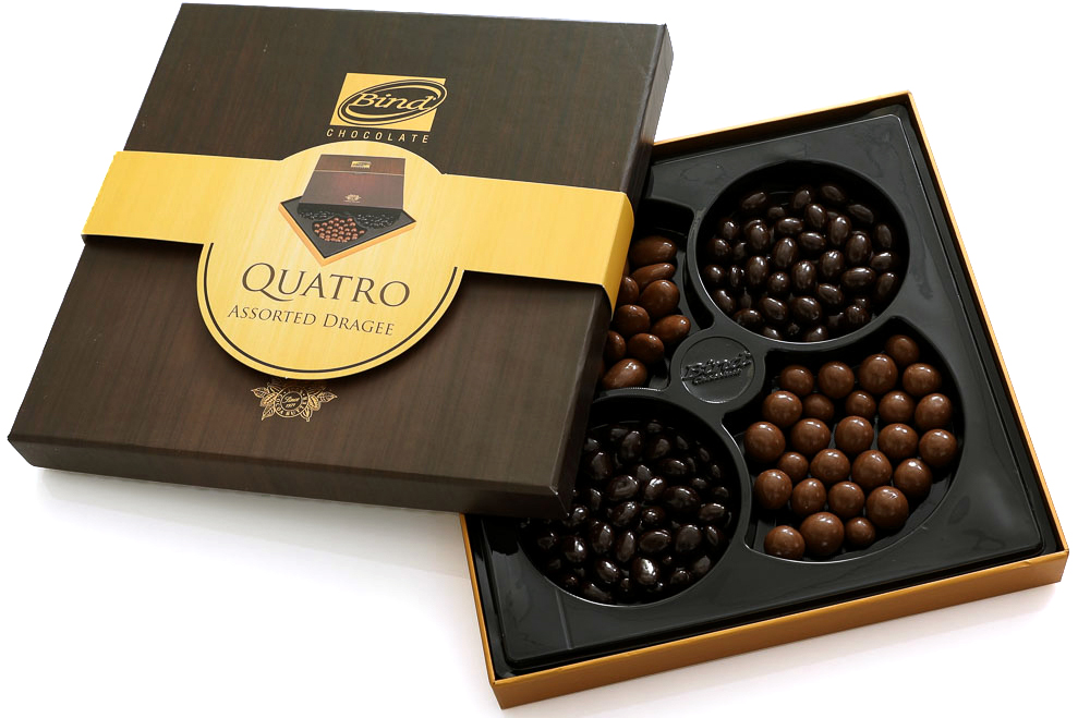 Bind Кватро набор шоколадного драже ассорти, 360 гPCK-6566Bind Набор шоколадного драже ассорти Кватро 360 гр