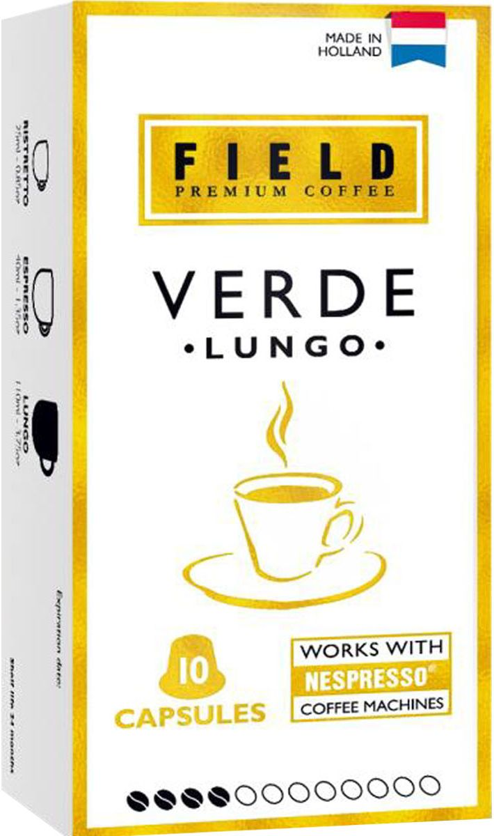 Field Premium Coffee Lungo Verde кофе в капсулах, 10 шт smart coffee club firenze кофе в капсулах 10 штук
