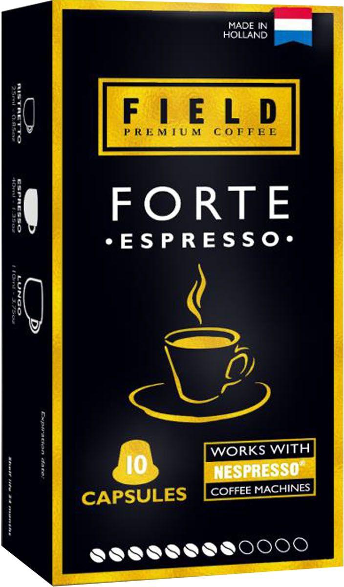 Field Premium Coffee Espresso Forte кофе в капсулах, 10 шт2017-10102Кофе премиум класса. Темный, обжаренный и насыщенный кофе имеет слегка копченый аромат с травяными и древесными нотками послевкусия.
