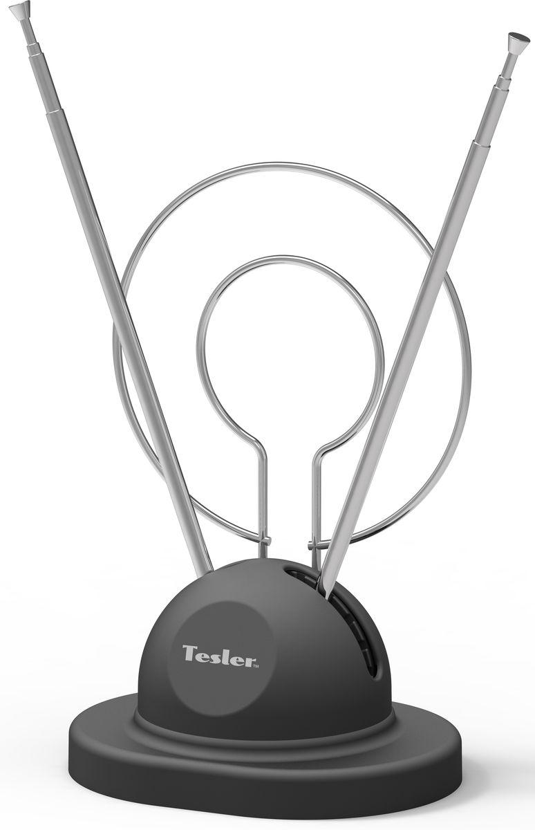 Tesler IDP-120 комнатная ТВ антенна (пассивная)IDP-120Антенна для телевизора Tesler IDP-120 предназначена для приёма аналогового и цифрового эфирного телевещания стандартов DVB-T, DVB-T2 и радиосигнала (DAB). Телескопические антенны можно легко отрегулировать по длине для настройки ТВ сигнала и удобного размещения в комнате.