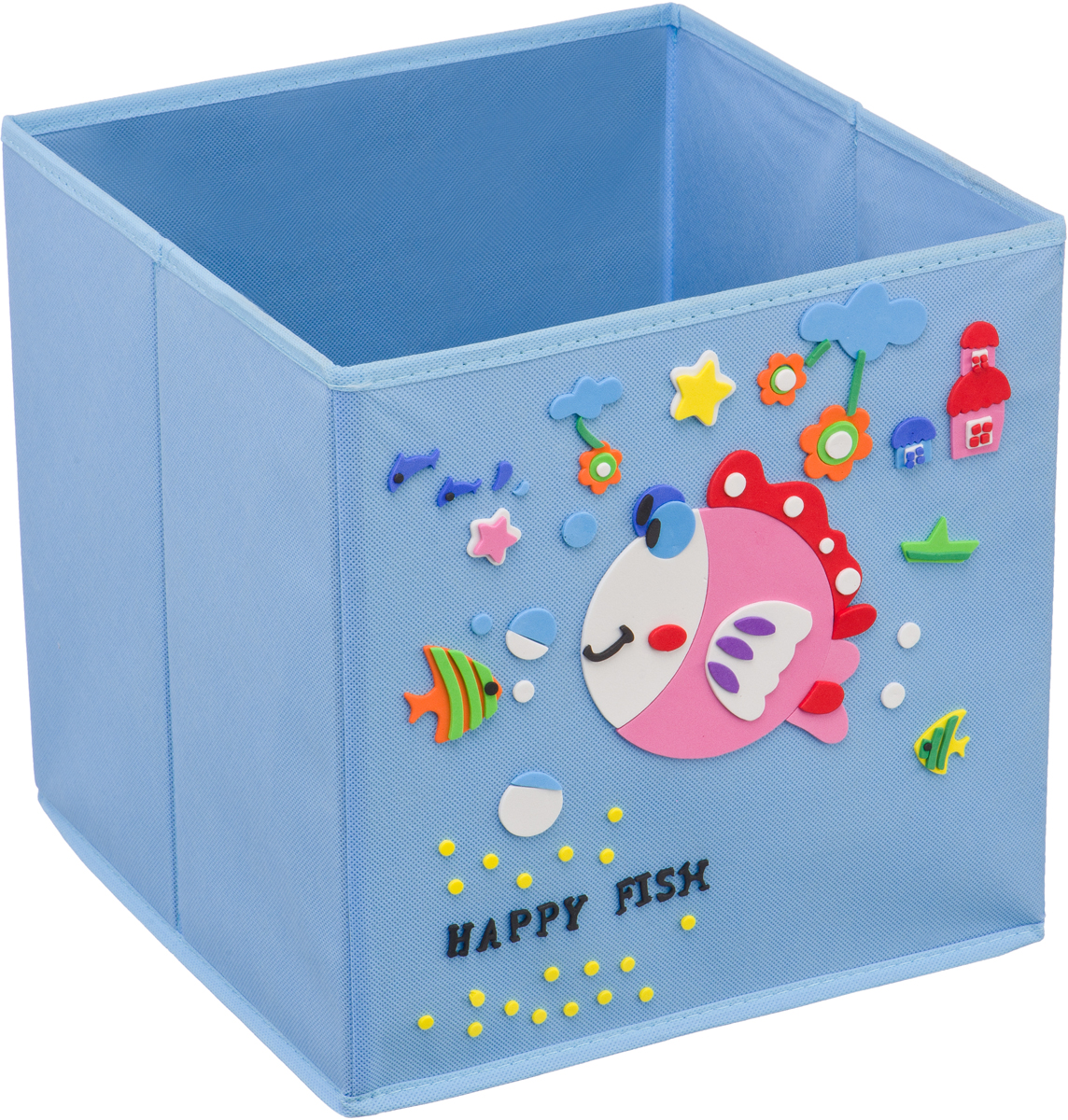Кофр для хранения Handy Home Рыбка, с аппликацией, цвет: голубойUC-109Кофр с аппликацией - универсальная система для домашнего хранения, которая дополняется интересной аппликацией с эксклюзивным и веселым детским дизайном для оформления фронтальной стороны короба. Комплект представляет собой складной короб из нетканого материала и картона, плюс самоклеящаяся аппликация из полимера, которую необходимо самому собрать в картину.Соберите всю увлекательную коллекцию у себя дома.