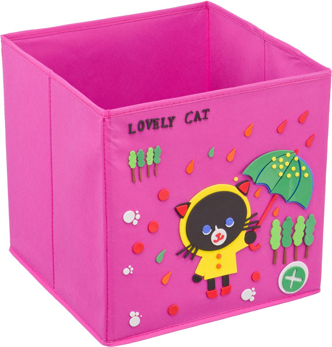 Кофр для хранения Handy Home Черный кот, с аппликацией, цвет: розовыйUC-114Кофр с аппликацией - универсальная система для домашнего хранения, которая дополняется интересной аппликацией с эксклюзивным и веселым детским дизайном для оформления фронтальной стороны короба. Комплект представляет собой складной короб из нетканого материала и картона, плюс самоклеящаяся аппликация из полимера, которую необходимо самому собрать в картину.Соберите всю увлекательную коллекцию у себя дома.