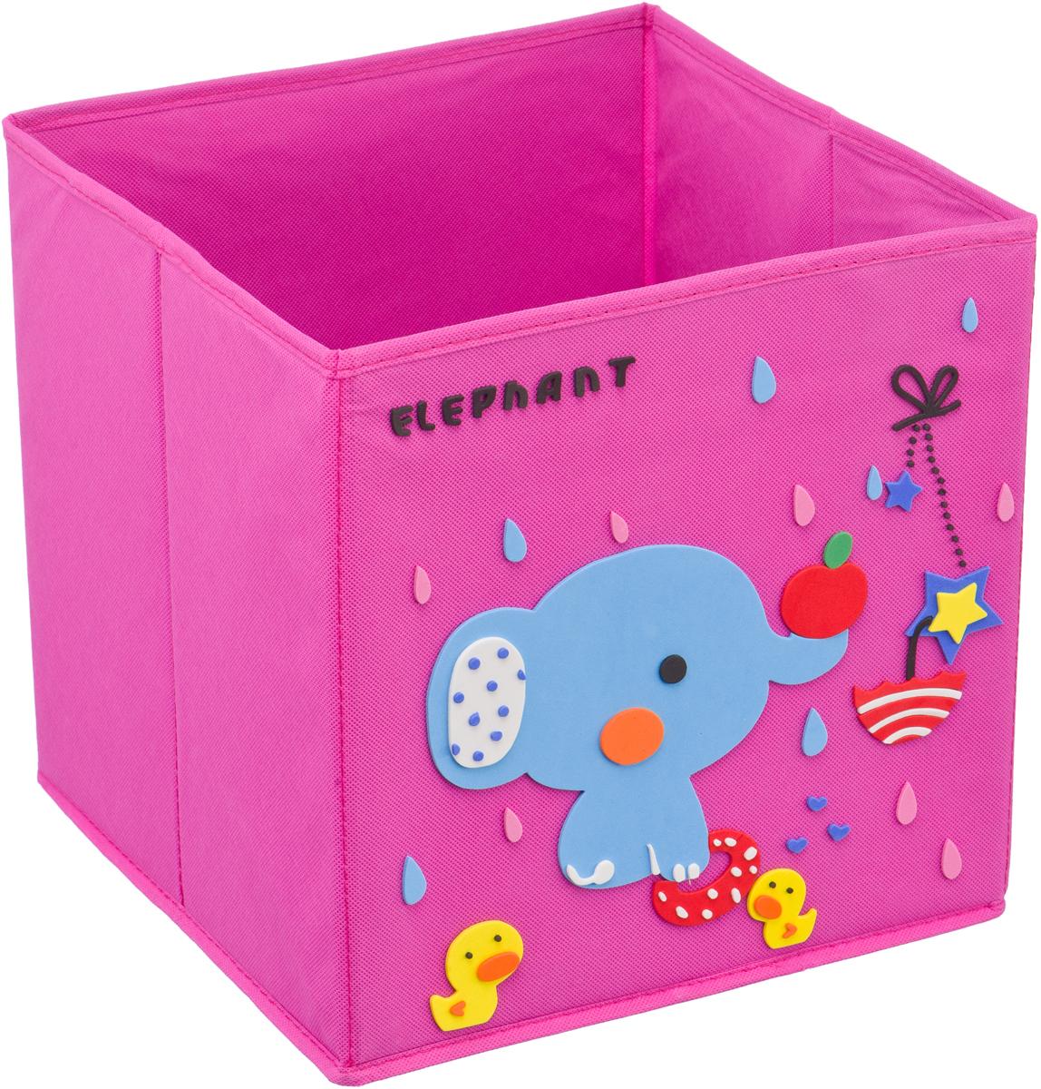 Кофр для хранения Handy Home Слоник, с аппликацией, цвет: розовыйUC-115Кофр с аппликацией - универсальная система для домашнего хранения, которая дополняется интересной аппликацией с эксклюзивным и веселым детским дизайном для оформления фронтальной стороны короба. Комплект представляет собой складной короб из нетканого материала и картона, плюс самоклеящаяся аппликация из полимера, которую необходимо самому собрать в картину.Соберите всю увлекательную коллекцию у себя дома.