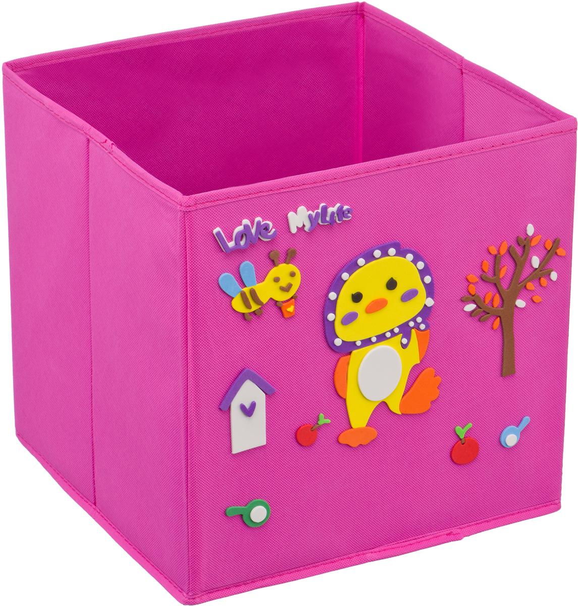 Кофр для хранения Handy Home Утенок, с аппликацией, цвет: розовыйUC-116Кофр с аппликацией - универсальная система для домашнего хранения, которая дополняется интересной аппликацией с эксклюзивным и веселым детским дизайном для оформления фронтальной стороны короба. Комплект представляет собой складной короб из нетканого материала и картона, плюс самоклеящаяся аппликация из полимера, которую необходимо самому собрать в картину.Соберите всю увлекательную коллекцию у себя дома.