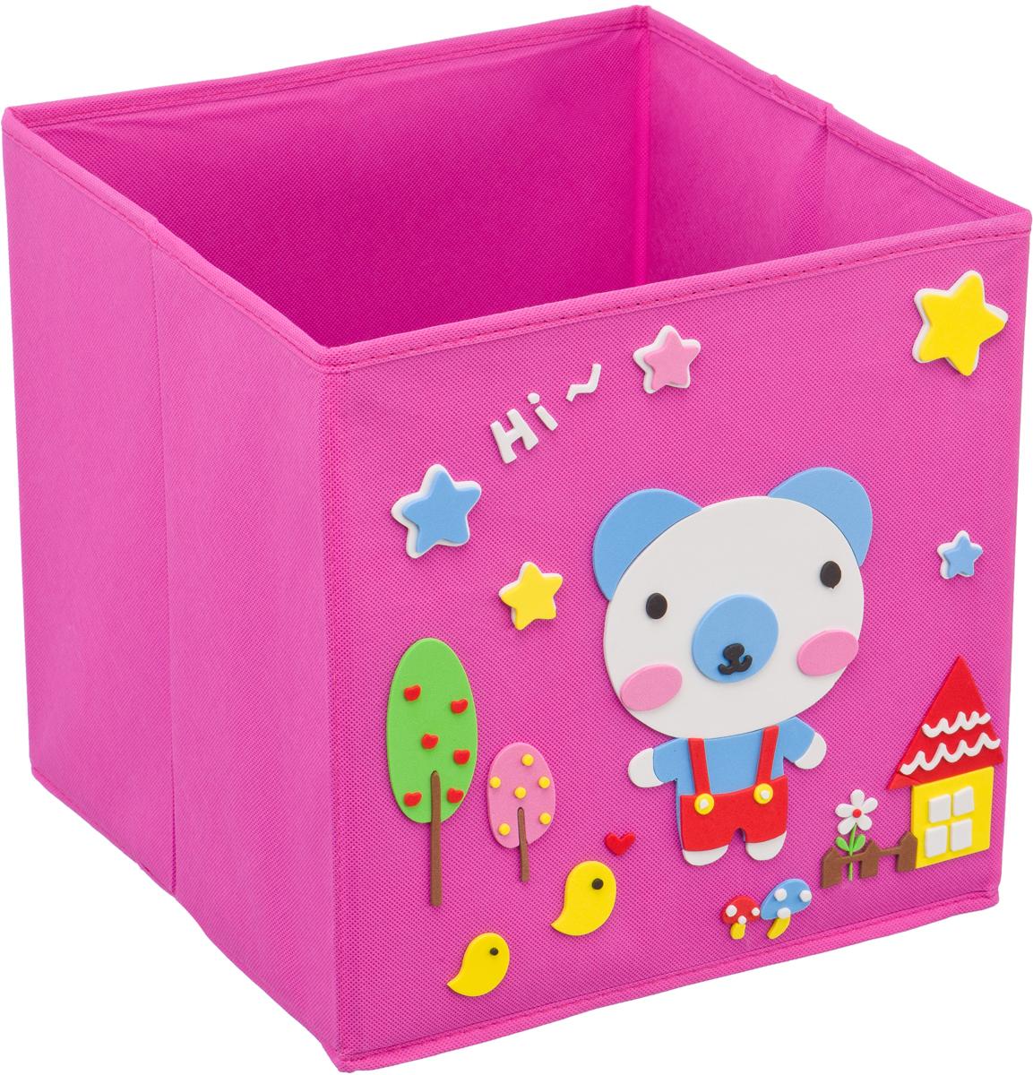 Кофр для хранения Handy Home Мишка, с аппликацией, цвет: розовыйUC-119Кофр с аппликацией - универсальная система для домашнего хранения, которая дополняется интересной аппликацией с эксклюзивным и веселым детским дизайном для оформления фронтальной стороны короба. Комплект представляет собой складной короб из нетканого материала и картона, плюс самоклеящаяся аппликация из полимера, которую необходимо самому собрать в картину.Соберите всю увлекательную коллекцию у себя дома.
