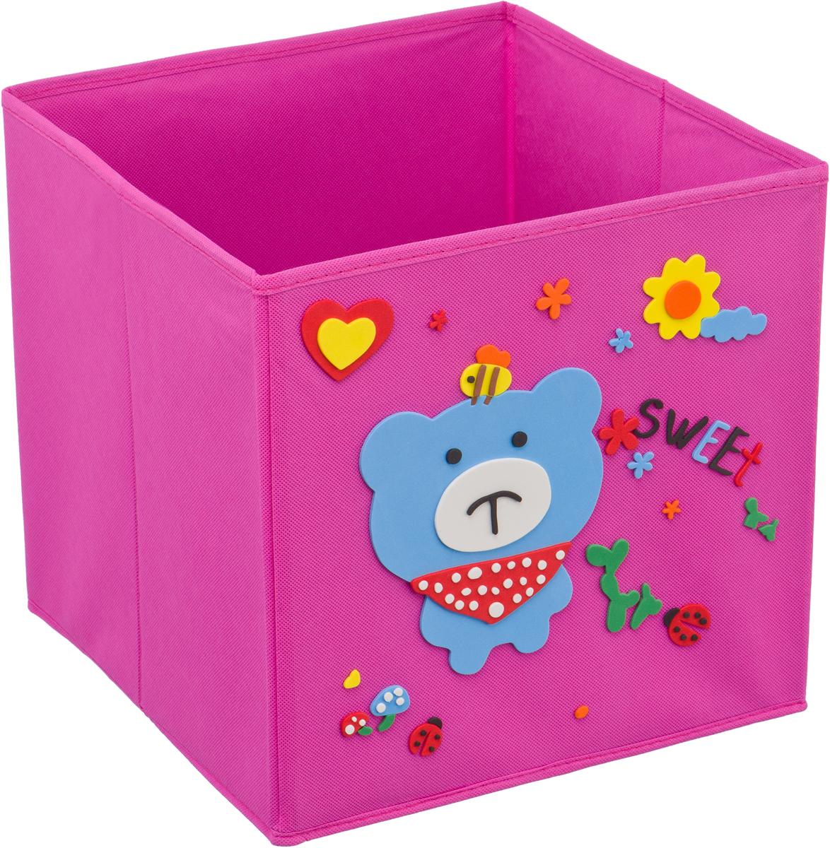 Кофр для хранения Handy Home Мишка с пчелкой, с аппликацией, цвет: розовыйUC-121Кофр с аппликацией - универсальная система для домашнего хранения, которая дополняется интересной аппликацией с эксклюзивным и веселым детским дизайном для оформления фронтальной стороны короба. Комплект представляет собой складной короб из нетканого материала и картона, плюс самоклеящаяся аппликация из полимера, которую необходимо самому собрать в картину.Соберите всю увлекательную коллекцию у себя дома.