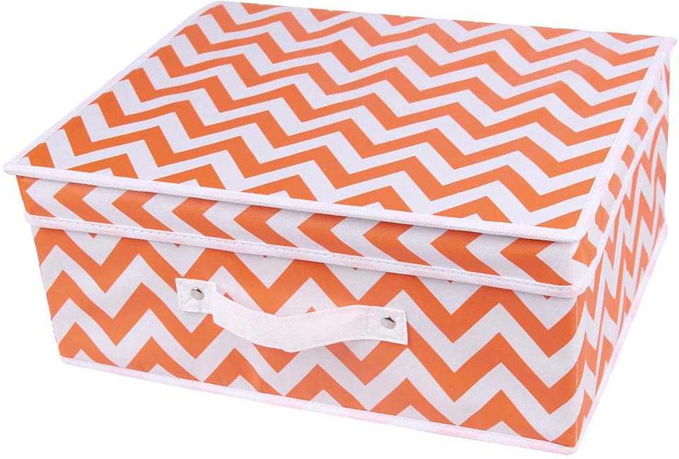 Короб для хранения Handy Home Орнамент, цвет: белый, оранжевый, 40 x 32 x 17 смUC-18Короб прямоугольный складной с крышкой. Занимает минимум места в сложенном виде. Естественная вентиляция: материал позволяет воздуху свободно проникать внутрь, не пропуская пыль. Подходит для хранения одежды, обуви, мелких предметов, документов и многого другого.