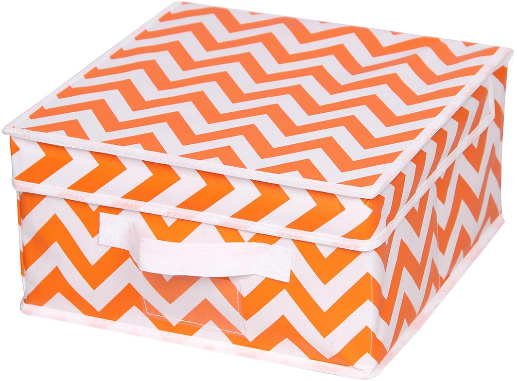 Короб для хранения Handy Home Орнамент, цвет: белый, оранжевый, 28 x 33 x 15 смUC-19Короб прямоугольный складной с крышкой. Занимает минимум места в сложенном виде. Естественная вентиляция: материал позволяет воздуху свободно проникать внутрь, не пропуская пыль. Подходит для хранения одежды, обуви, мелких предметов, документов и многого другого.