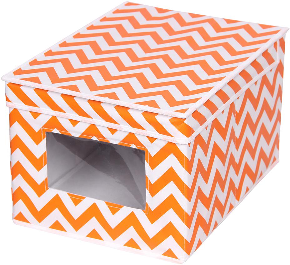 Короб для обуви Handy Home Орнамент, цвет: белый, оранжевый, 30 x 40 x 25 смUC-22Короб прямоугольный складной с крышкой. Наличие окошечка поможет избавиться от утомительных поисков нужных вещей. Занимает минимум места в сложенном виде. Естественная вентиляция: материал позволяет воздуху свободно проникать внутрь, не пропуская пыль. Подходит для хранения одежды, обуви, мелких предметов, документов и многого другого.