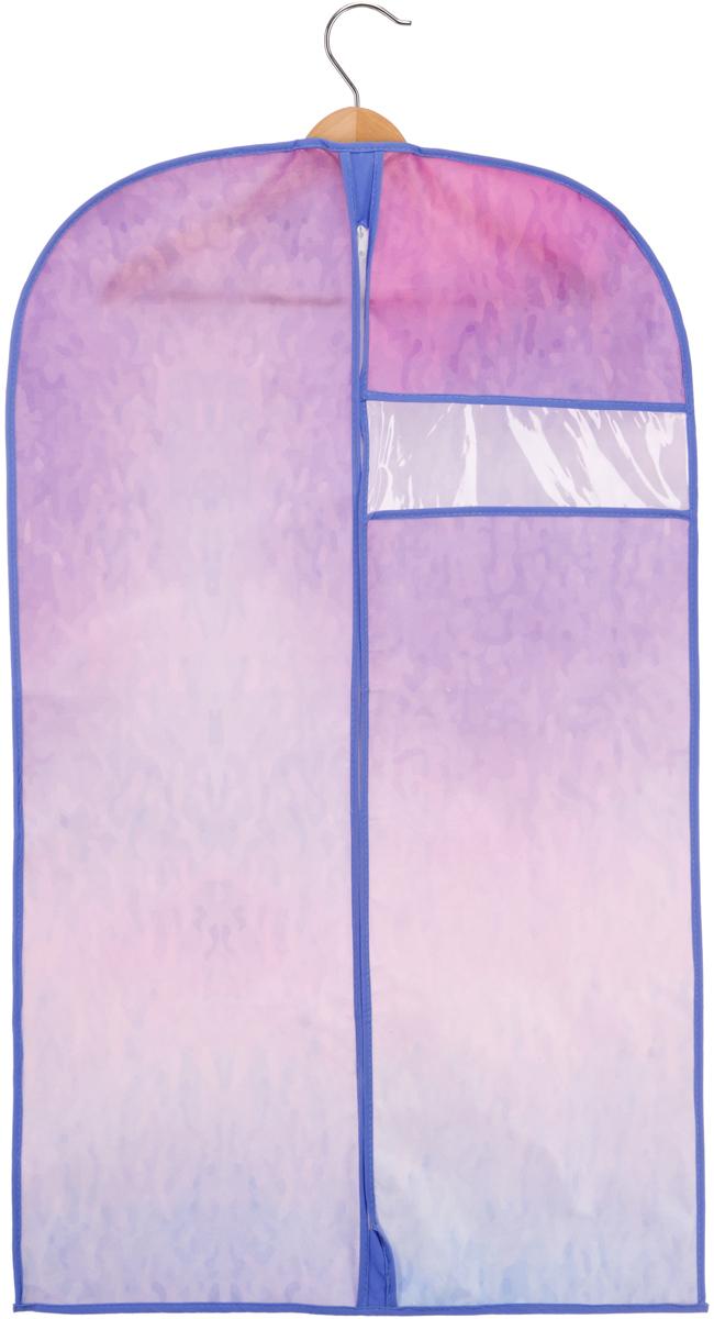 Чехол для одежды Handy Home Акварель, цвет: синий, фиолетовый, 60 х 100 смUC-72Чехол для одежды размером 60 х 100 см поможет полноценно сберечь одежду, как в домашнем хранении, так и во время транспортировки. Благодаря специальному нетканому материалу одежда будет недоступна для пыли, влаги, моли и не потеряет цвет, а прозрачное окно, выполненное из ПВХ, легко позволит быстро определить, что находится внутри. Соберите всю коллекцию и наслаждайтесь аккуратностью и эстетикой своего гардероба.