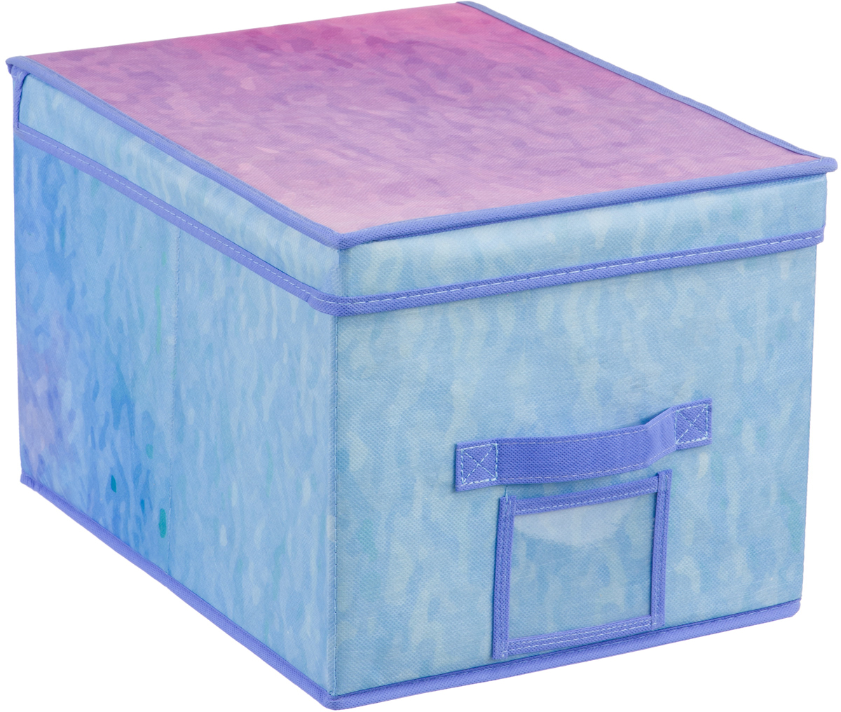 Короб для хранения Handy Home Акварель, цвет: синий, фиолетовый, 30 х 40 х 25 смUC-75Короб прямоугольный складной с крышкой. Занимает минимум места в сложенном виде. Естественная вентиляция: материал позволяет воздуху свободно проникать внутрь, не пропуская пыль. Подходит для хранения одежды, обуви, мелких предметов, документов и многого другого. Соберите всю коллекцию и наслаждайтесь аккуратностью и эстетикой своего гардероба.