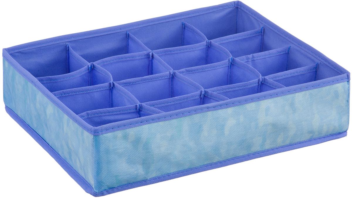 Короб-органайзер Handy Home Акварель, 16 секций, цвет: синий, фиолетовый, 35 х 27 х 9 смUC-78Короб - органайзер Акварель с 16 секциями выполнен из нетканого материала. Подходит для хранения нижнего белья, галстуков, аксессуаров. Конструкция короба складная, поэтому в сложенном виде он занимает минимум места. Соберите всю коллекцию и наслаждайтесь аккуратностью и эстетикой своего гардероба.