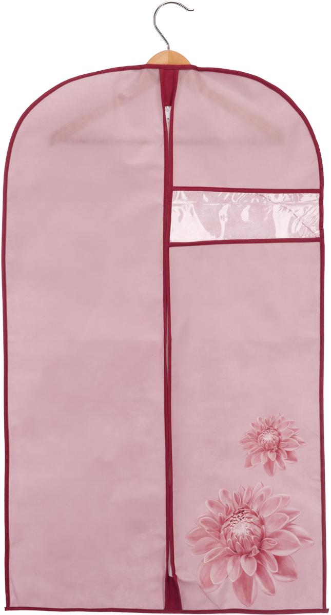Чехол для одежды Handy Home Хризантема, цвет: бордовый, розовый, 60 х 100 смUC-79Чехол для хранения и перевозки одежды. Изготовлен из нетканого дышащего материала, который препятствует попаданию пыли, влаги, запахов и грязи, при этом сохраняя вентиляцию так необходимую для бережного хранения одежды. Чехол создает порядок в шкафу и просто радует глаз. Соберите всю коллекцию и наслаждайтесь аккуратностью и эстетикой своего гардероба.