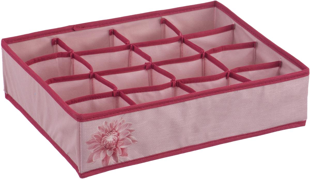 Короб-органайзер для хранения Handy Home Хризантема, 16 секций, цвет: бордовый, розовый, 35 х 27 х 9 см