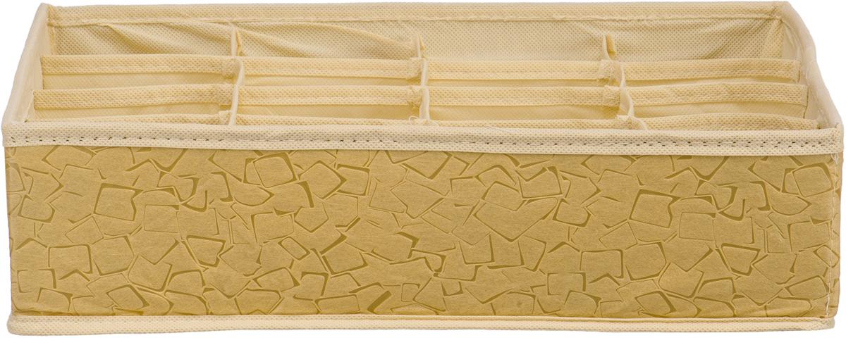 Короб-органайзер Handy Home Геометрия, 16 секций, цвет: бежевый, 35 х 27 х 9 смUC-92Короб - органайзер Геометрия с 16 секциями выполнен из нетканого материала. Подходит для хранения нижнего белья, галстуков, аксессуаров и т.д. Конструкция короба складная, поэтому в сложенном виде он занимает минимум места. Соберите всю коллекцию и наслаждайтесь аккуратностью и эстетикой своего гардероба.