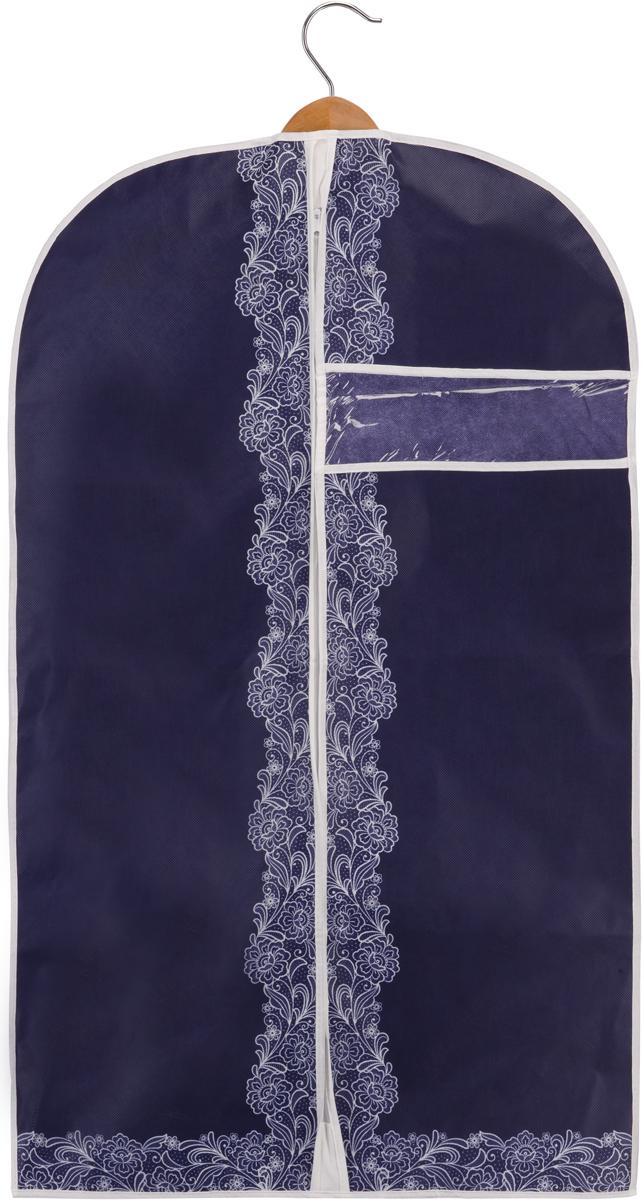 Чехол для одежды Handy Home Кружево, цвет: синий, белый, 60 х 100 см чехол для одежды home queen цвет фиолетовый красный 60 х 100 см