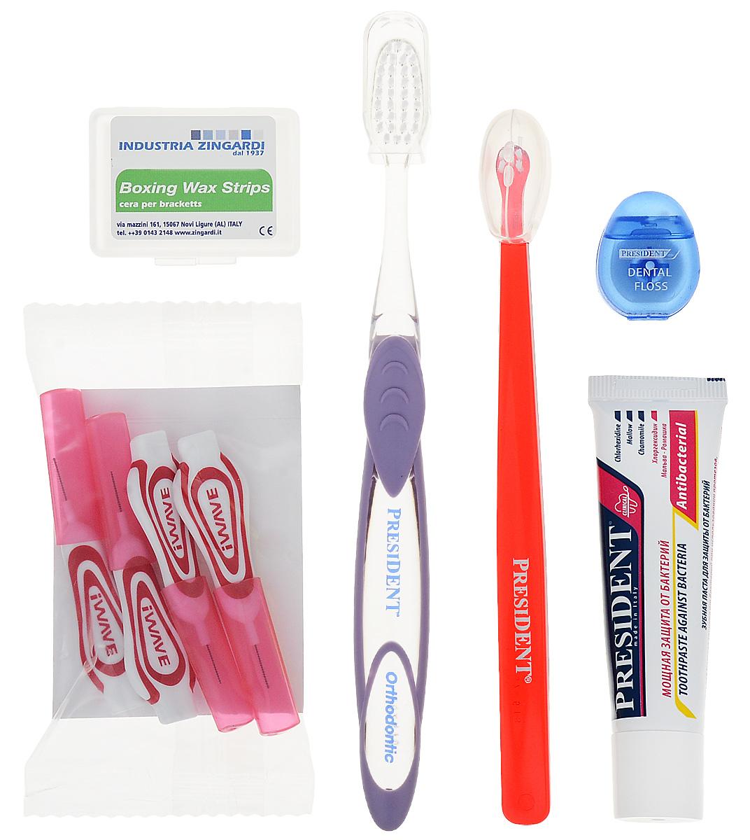 President брекет-набор, с ортодонтическим воском, цвет щеток: красный, сиреневый - Товары для гигиены