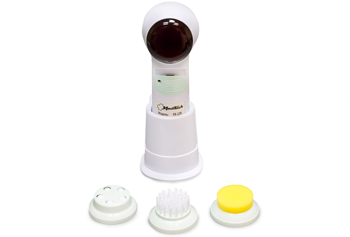 MediTech Портативный массажер для лица с инфракрасным прогревом и 3 сменными насадками (комплектуется зарядным устройством) FR-22R fosta подушка массажная аппликатор арт f0106
