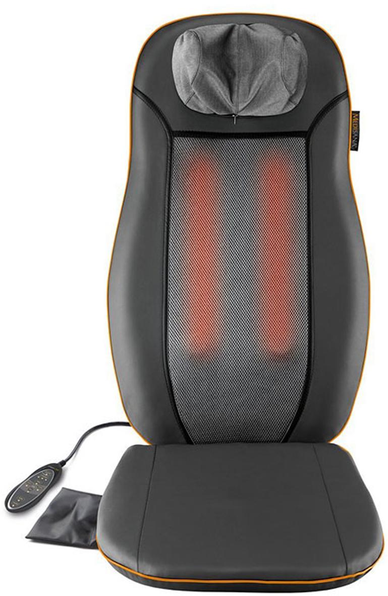 Medisana Накидка массажная шиатцу MСN00000777Массажная накидка шиацу Medisana MCN улучшает самочувствие после напряженного дня. Массажный эффект особенно полезен при воздействии на напряженные мышцы и усталые ткани. Кроме этого, прибор гарантирует вам приятное расслабление для снятия каждодневного стресса. Массаж полезен как для улучшения самочувствия, так и при занятиях спортом и фитнесом. Уникальная комбинация интенсивного массажа шиатсу, вибромассажа итеплового излучения обеспечивает эффективное и расслабляющее действие.Пользуясь массажной накидкой Medisana RBI вы получаете профессиональный массаж в любое удобное вам время!Medisana MCN делает массаж в области шеи и плеч, верхней части спины, нижней части спины и всей спины. Кроме того предусмотрена функция подогрева массажных головок, что усиливает массажный эффект. Все настройки выполняются на удобном в обращении блоке управления.Массажная накидка шиацу Medisana MCN имеет три функции для целенаправленного массажа, массажа надавливанием пальцами (массаж шиацу), вибромассажа и нагрева и оснащена 3-уровневой функцией вибрации в сиденье. Также в устройстве предусмотрено автоматическое отключение прибора по таймеру через 15 минут.Накидка очень проста в использовании — просто поместите ее на обыкновенный стул или кресло — и сделайте себе приятный релаксационный массаж!УВАЖАЕМЫЕ КЛИЕНТЫ!Просим обратить ваше внимание на тот факт, что четких критериев в отношении роста человека по данным накидкам нет, создаются они, исходя из средне статистической комплектации тела человека. Пол значения не имеет, есть возрастное ограничение (детям нельзя использовать по объективным причинам) и ограничение по здоровью пользователя (наличие заболевания). Массажная накидка не подбирается по росту.