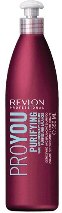 Revlon Professional Pro You Шампунь для волос очищающий Purifying Shampoo 350 мл7203153000Шампунь от Revlon для очищения и восстановления жирового баланса кожи головы содержит экстрагированные компоненты розмарина и шалфея и рекомендован для жирных волос. Активные компоненты шампуня образуют на поверхности волос защитный слой, препятствующий потере объема, увеличивающий блеск и гладкость волос. Средство обладает мягким, очищающим и успокаивающим действием по отношению к раздраженной или чувствительной коже и интенсивно питает и увлажняет фибру.