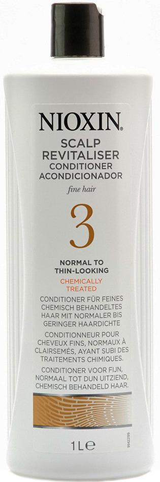 Nioxin Scalp Увлажняющий кондиционер (Система 3) Revitaliser System 3, 1000 мл81274153Увлажняющий кондиционер от Nioxin из системы 3 придает объем нормальным и тонким волосам, которые поддались химической завивке. Средство мягко воздействует на кожу головы, смягчая и увлажняя ее, а также делает волосы упругими и шелковистыми. Главным действующим компонентом кондиционера от Ниоксин являются специализированные энзимы, которые обеспечивают глубокое питание волос и кожи головы. После применения увлажняющего кондиционера от Ниоксин волосы становятся пластичными, шелковистыми и приятными на ощупь, а кожа головы больше не страдает от раздражения.