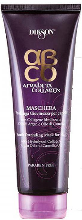 Dikson ArgaBeta Маска Продление молодости Collagene Mask 250 мл2450Питательная маска, которая подходит для всех типов волос. Она не утяжеляет волосы, упрочняя их. Имеет эффект восстановления и предотвращения преждевременного старения. Натуральный коллаген, который входит в состав маски, оказывает стимулирующее воздействие на собственный коллаген в клетках кожи. Аргановое масло, витамин Е действуют как антиоксидант, оказывают глубокую подпитку волосам, увлажняют их и укрепляют. Масло камелии прекрасно придает блеск, сияние и мягкость. Обладает ярко выраженным эффектом при аллергии и перхоти.