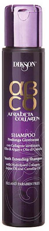 Dikson ArgaBeta Collagen - Шампунь Продление молодости 250 мл (бессульфатный)dikson2445Аккуратно удаляет загрязнения с волос и кожи, глубоко питает их, усиливает структуру. Коллаген в составе увеличивает срок жизни волоса, увеличивает объем, плотность, нивелирует стресс. Масло арганы - классический антиоксидант, который питает кожу головы. Масла камелии возвращает волосам блеск, дарит сияние и мягкостью. Без лаурилсульфата натрия, отсутствуют парабены в составе.