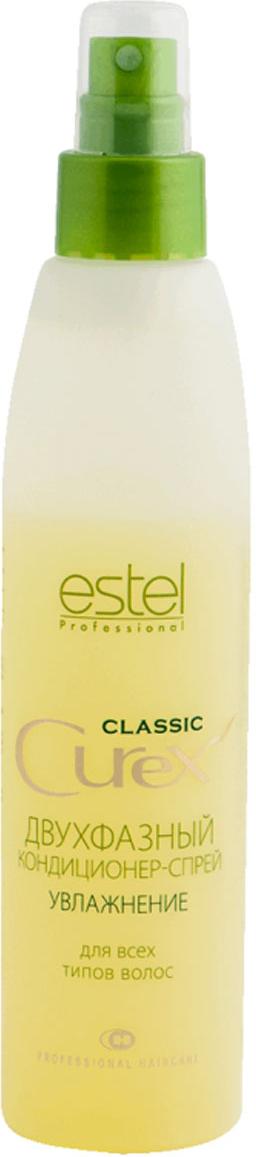 Estel Curex Classic Двухфазный кондиционер-спрей для волос Увлажнение 200 млCU200/2FДВУХФАЗНЫЙ КОНДИЦИОНЕР-СПРЕЙ ДЛЯ ВОЛОС «УВЛАЖНЕНИЕ» ESTEL CUREX CLASSIC для всех типов волос Двухфазный кондиционер-спрей интенсивно увлажняет волосы, бережно ухаживает за ними и облегчает расчесывание. Способствует восстановлению структуры волос. Содержит провитамин В5 и силоксаны, придающие волосам сияющий блеск. Результат: Восстановление структуры Облегчение расчесывания Блеск и сияние