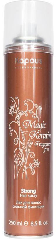 Kapous Лак аэрозольный для волос сильной фиксации с кератином Magic Keratin 250 млKap851Серия «Fragrance free» не имеет парфюмированных добавок. Лак для волос нормальной фиксации предназначен для создания подвижных и эластичных укладок. Благодаря уникальной формуле лак абсолютно сухой и обеспечивает мелкодисперсное распыление и надежную фиксацию. Входящий в состав Кератин питает волосы, делает их эластичными и гладкими, придает дополнительный блеск. УФ-фильтры защищают волосы от влияния окружающих факторов.Способ применения: Перед применением баллон хорошо встряхнуть, равномерно нанести лак на завершенную укладку с расстояния 30-35 см.