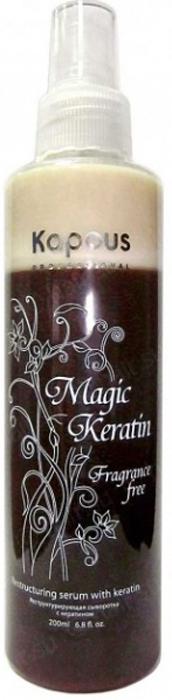 Kapous Реструктурирующая сыворотка с кератином Magic Keratin 200 млKap586Серия «Fragrance free» не имеет парфюмированных добавок.Двухфазная сыворотка на основе Кератина и молочной аминокислоты разработана для глубокого восстановления и защиты сухих волос, подверженных неоднократными химическими процедурами. Формула с Кератином защищаетволосы от воздействия внешних факторов, реконструирует поверхностный слой, возвращая эластичность и силу волосам. Молочная аминокислота способствует регенерации и является регулятором гидробаланса кожи головы и волос, предотвращает воздействие свободных радикалов. Результат: Сыворотка защищает волосы от ежедневного стресса, облегчает их расчесывание, делает их послушными, придавая блеск и многогранный цвет.