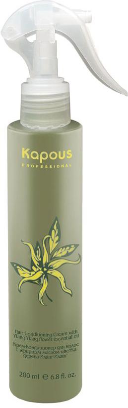 Kapous Professional – Крем-кондиционер для волос Иланг-Иланг 200 мл594Kapous Professional Крем-кондиционер для волос Иланг-Иланг. В формулу крема-кондиционера входит эфирное масло цветка дерева Иланг-Иланг Капус, которое насытит волосы жизненной энергией с помощью микроэлементов. Они будут выглядеть жизненно, блестяще и эффектно. Это отличное средство для ухода за структурой волос подвергающихся тепловому воздействию феном. Крем защитит волосы от механических повреждений, хорошо ограждает от избыточной влажности и предупреждает статический эффект. Средство увлажнит структуру волос, они получат необходимые питательные элементы. Крем защитит волосы от негативных воздействий внешней среды. После применения крема, волосы будут гладкими, эластичными и послушными, он оградит ваши волосы от преждевременного выпадения.Великолепный аромат крема предаст вам оригинальность и притягательность.