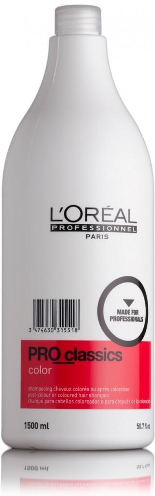 L'Oreal Professionnel Pro Classics Color Шампунь для завершения окрашивания, 1500 млE0315518LOreal Professionnel Pro Classics Color Шампунь - создан специально для мытья головы после процедуры окрашивания. Активно предотвращает продолжение процесса окисления на волосах, что гарантирует неизменность цвета и защиту от постепенного повреждения волос.Благодаря активном компонентам взаимодействующими с полимером Ионеном G, который содержится в красителях Лореаль, шампунь для завершения окрашивания Pro Classic Color усиливает глубину цвета таких красок как: стойкая крем-краска Мажирель, антивозрастная краска Колор Супрем, красок тон в тон линейки Диалор, а так же осветляющих красок Мажиблонд. Удаляет остатки окислюящих веществ.Шампунь не вызывает раздражения, ощущения сухости кожи головы и обеспечивает максимальный комфорт во время использования. Волосы становятся блестящими, гладкими и легко поддаются расчесыванию и укладке.
