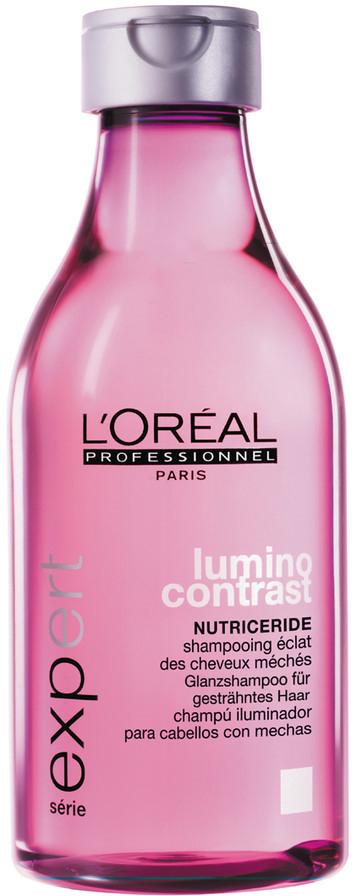 LOreal Professionnel Шампунь-сияние Expert Lumino Contrast - 250 млE3001807Шампунь Lumino Contrast обладает целенаправленным действием на мелированные пряди, он делает их упругими, гладкими, облегчает процесс укладки и расчёсывание волос. За счёт витамина Е, входящего в состав, а также микроэмульсионной текстуры обволакивающих масел волосы станут красивыми и блестящими, они наполнятся жизненной энергией. UV-фильтр защитит волосы от воздействия солнечных лучей, от высушивания и выгорания прядей. В результате ваши волосы будут всегда гладкими и красивыми, а мелированные пряди надолго останутся яркими.
