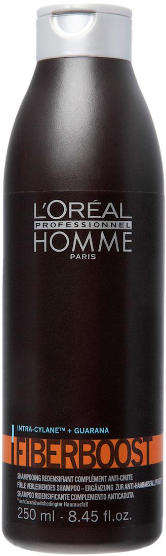 LOreal Professionnel Homme Уплотняющий шампунь-уход от выпадения волос Файбербуст Fiberboost Shampoo 250 млE0455337Шампунь Fiberboost для ухода за волосами всех типов делает волосы гладкими, податливыми и шелковистыми. Особенно яркий эффект виден на тонких волосах. Шампунь питает кожу головы и оказывает благотворное влияние на состояние волосяных луковиц и структуру волос, уплотняя их и препятствуя выпадению. Формула шампуня обогащена гуараной и активным ингредиентом - Intra-Cylane, стимулирующими рост волос. Они становятся ощутимо прочнее и мягче.