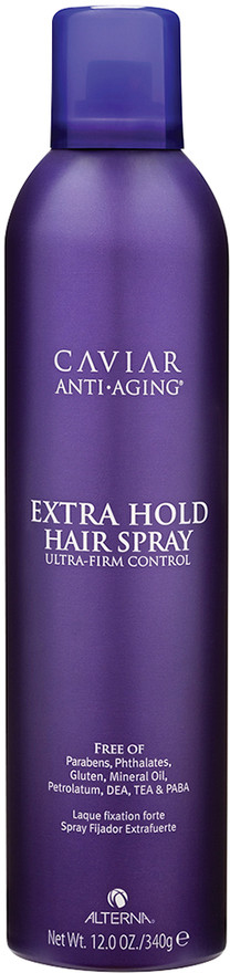 Alterna Лак сильной фиксации Caviar Anti-Aging Extra Hold Hair Spray - 400 мл60060Спрей Alterna Caviar Anti-Aging Extra Hold Hair Spray - это средство для фиксации волос и создания гибкой текстуры. В составе продукта находятся запатентованные компанией Alterna формулы, которые предотвращают старение волос, восстанавливают их поврежденную структуру и препятствуют вымыванию цвета. Также спрей защищает волосы от повреждений, связанных с оборудованием для стайлинга, и обеспечивает отличную фиксацию в любую погоду.Результат: После применения спрея Alterna Caviar Anti-Aging Extra Hold Hair Spray волосы становятся блестящими, они надежно зафиксированы, и ваша прическа выглядит идеально даже при высокой влажности.